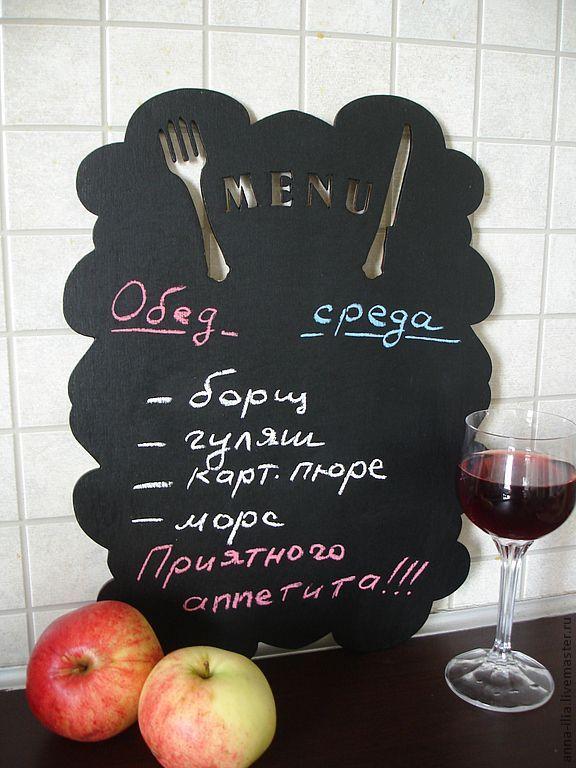 Купить Грифельная доска для меню. - черный, грифельная доска, кухня, меню, фанера 6 мм