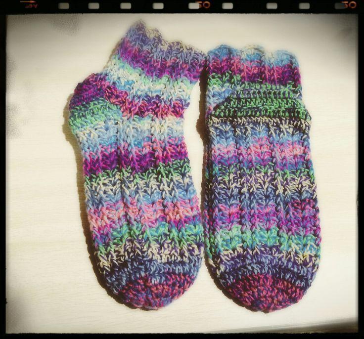 引き揃えかぎ針編み靴下