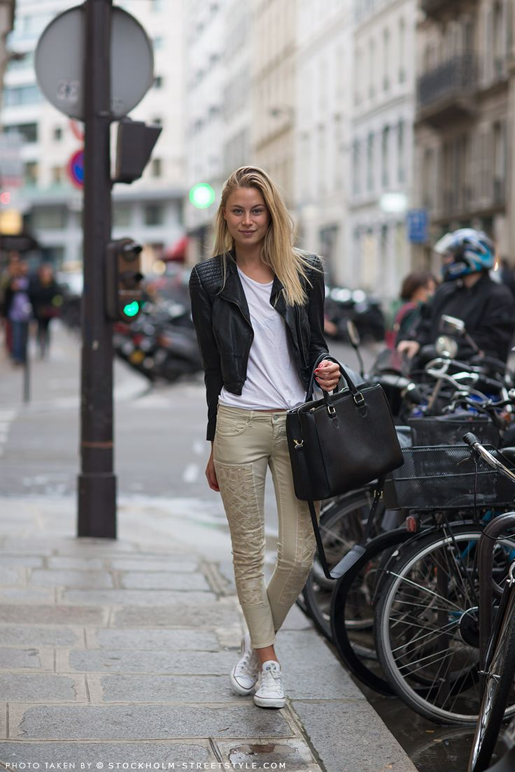 Pants, jacket and top from H, sneakers from Converse and a bag from Zara. Street Style Paris. Model off duty: Lovissa Haag