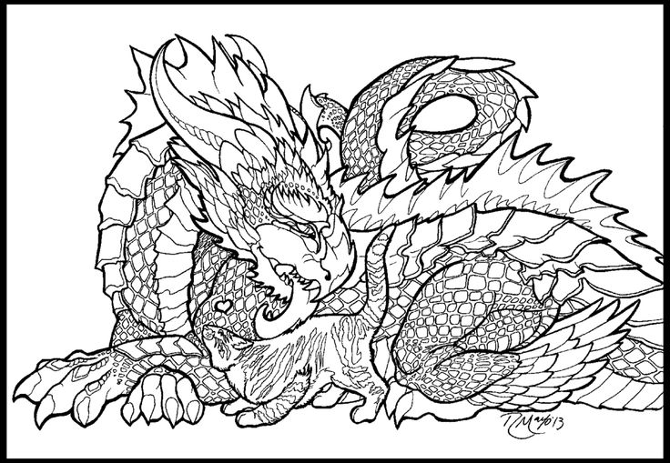 dragons in love coloring pages - photo#47