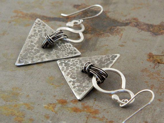 Triangle Fine Silver Earrings For Women by Trijoux on Etsy, $79.00