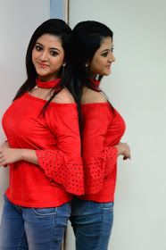 Shriya Sharma Latest Hot Cleveage Glamourous Red Tops PhotoShoot Images At Nirmala Convent Movie Interview