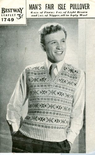 Vintage 1940's Classic Mens Fair Isle Pullover or Tank Top Pattern to Knit.   eBay