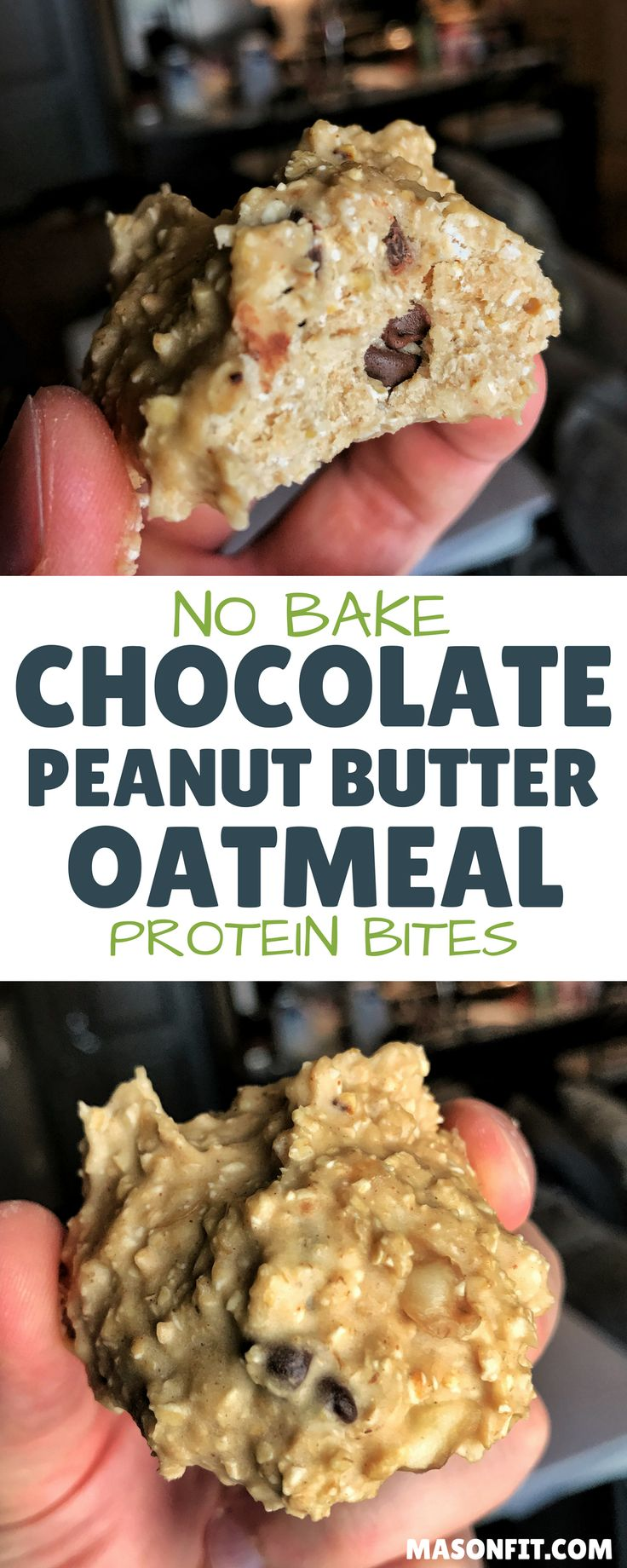 A super easy recipe for oatmeal and peanut butter bites without the fat and calories of regular energy bites. With 65 calories and 6 grams of protein per bite, these are perfect for a snack around your workout! via @masonfitdotcom
