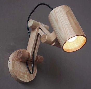 Moderne houten wandlamp verlichting voor slaapkamer home verlichting, wandkandelaar solid houten wandlamp gratis verzending
