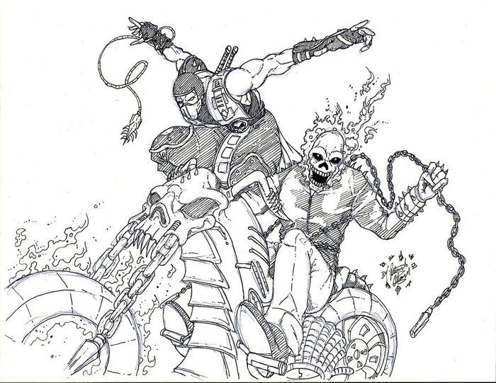 Deadpool Vs Ghost Rider Coloring Pages Chibi In 2020 Superhero Coloring Pages Skull Coloring Pages Toy Story Coloring Pages