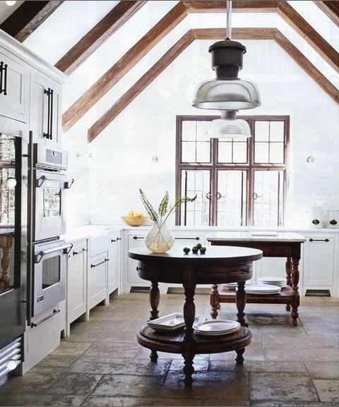 round island tables in kitchen