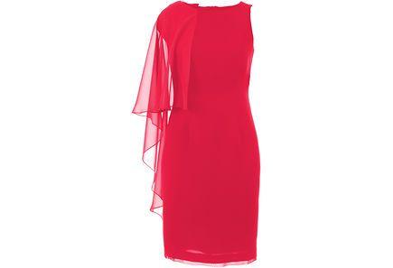 Naisellinen kotelomekko, jossa toispuoleinen irroitettava sifonki somiste. Ril's Finland Eivor dress.