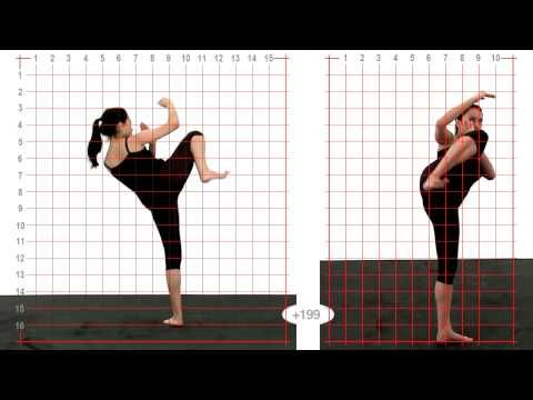 Animation Reference - Young Adult Female Side Kick High - Grid Overlay - YouTube