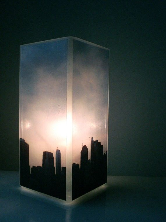 Glass Polaroid Photo Table Lamp - New York, I Love You - Unique Urban Housewarming Gift, Home Decor, Functional Illuminated Art