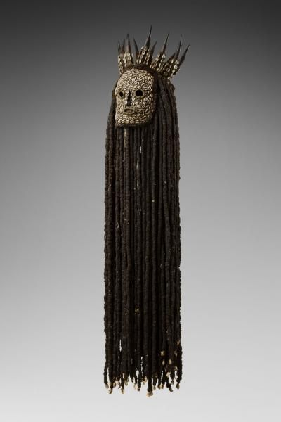 Object type: Mask Materials:horn, vegetal fibre, cowrie, human hair, textile Legend:The kunggang of the Bamileke belong to an important association of healers and headmen, and for the purification of villages. They represent the power of intervention against sorcery. Place of collecting:Cameroon Culture:Bamileke