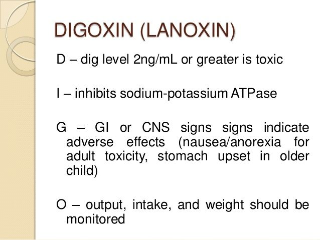 Side Effects Of Digoxin Toxicity In Elderly