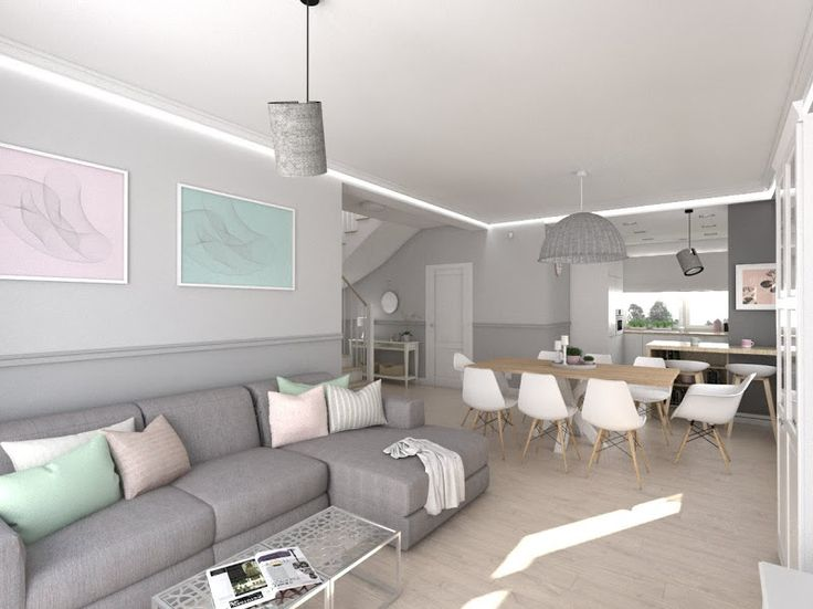 house in pastel colors, interior design, living room. www.atoato.pl