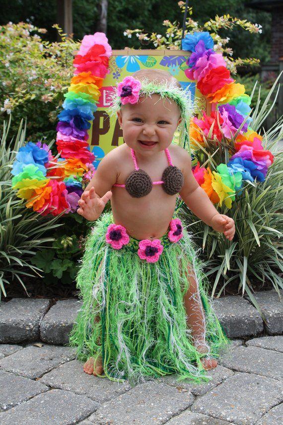 TWIN Baby Girl or Toddler Hawaiian HULA Grass Skirt Coconut Bra and Flower  Headband - Made to Order 4f40ed0e634