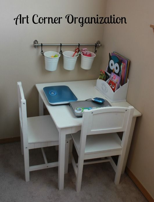 Home Organization 101: Create an art corner to corral coloring and craft supplies. #homeorganization