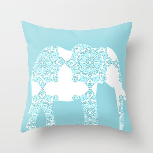 """Damask Elephant Throw Pillow 16"""" x 16"""" in pink and blue - pillows,throw pillows, nursery pillows ,elephant, pink elephant, blue elephant"""