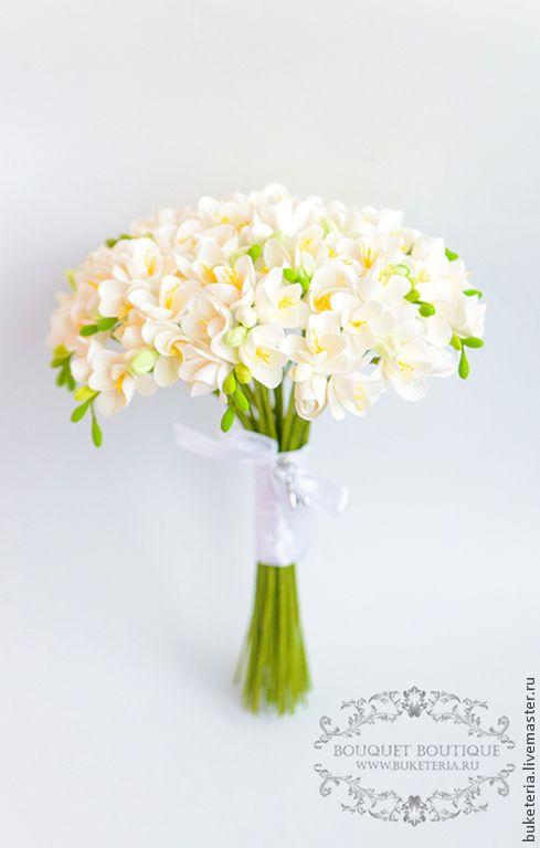 Купить Букет невесты с фрезией - букет невесты, букет из глины, букет из полимерной глины