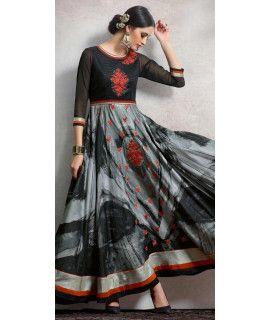 Ethnic Black And Grey Silk Anarkali Suit.