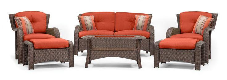 Sawyer 6 Piece Patio Seating Set (Grenadine Orange, Wicker)