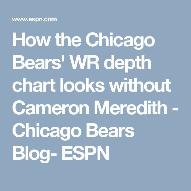 How the Chicago Bears' WR depth chart looks without Cameron Meredith - Chicago Bears Blog- ESPN