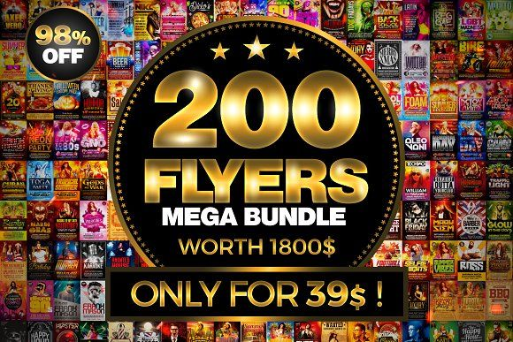 200 Flyer Templates Bundle 98% OFF ! by XtremeFlyers on @creativemarket