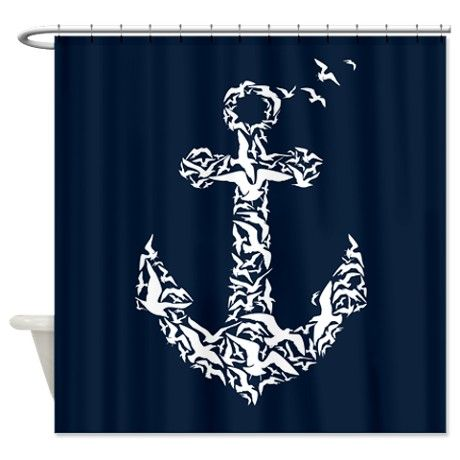 Bird Anchor Shower Curtain on CafePress.com