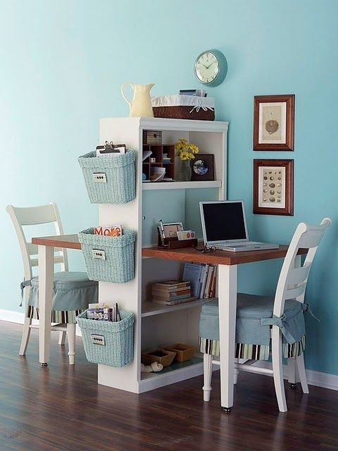 ideas / Inside Out Design: Keeping papers off the kitchen island | We Heart It  Modify this to make a desk/shelf combo for bedroom.