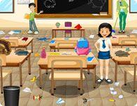 Soy voluntaria en la limpieza del aula.