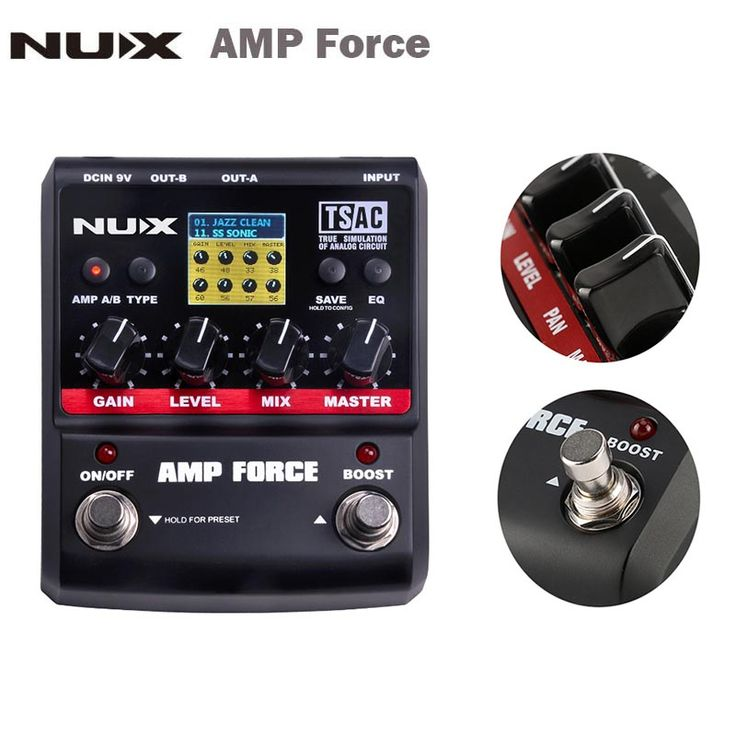 Modelagem de Guitarra NUX AMP Força Amplifier Simulator Pedal Efeito Guitarra Elétrica 12 Modelos de Tela Guitar parts & Accessories
