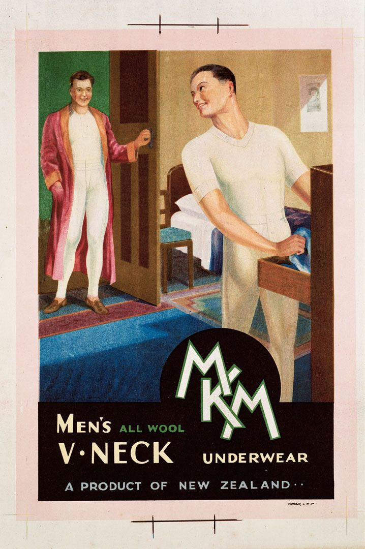 Advertising poster for 'MKM Men's All Wool V Neck Underwear' - a product of New Zealand. Artwork by David Payne.1940's