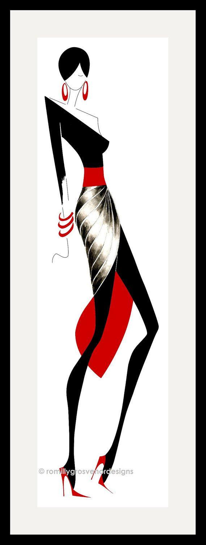 Fashion Illustration - Elegance 1 - sticker - Fashion Design - noir - rouge - ArtFashionByRomilly - décoration d'intérieur