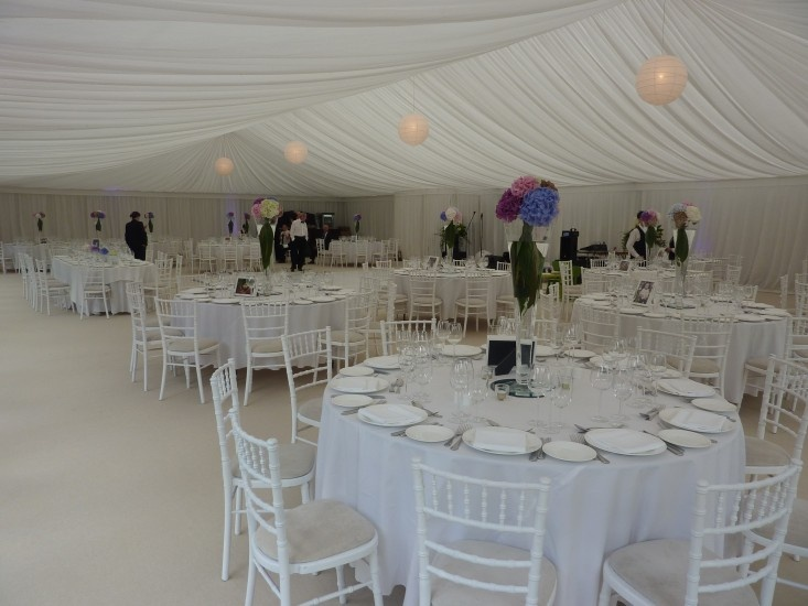Marquee with straight borders and Hydrangeas for colour -candles brought out for evening