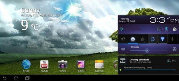 ASUS UK har släppt en mindre uppdatering av mjukvaran för deras surfplatta Transformer Prime TF201.