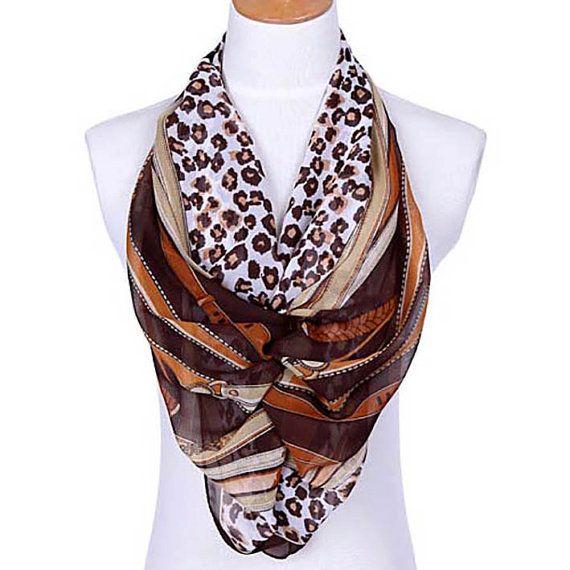 Womens sciarpa, sciarpa marrone, sciarpa stampa leopardo, sciarpa stampa floreale, sciarpa in Chiffon, Voile sciarpa, sciarpa di cotone, moda sciarpa