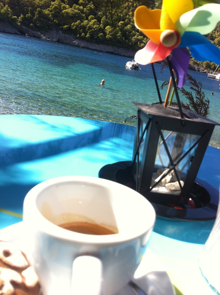 Coffee by the seafront on Assos - Cephalonia Greece