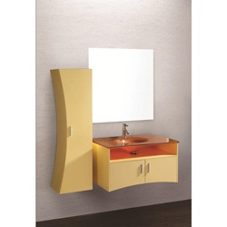 @Overstock - This striking bathroom vanity features a beautiful glass top and included mirror. A spacious side cabinet completes this bathroom furniture set.http://www.overstock.com/Home-Garden/Design-Element-Ultra-Modern-Cream-Bathroom-Vanity-Set/5562488/product.html?CID=214117 $669.99