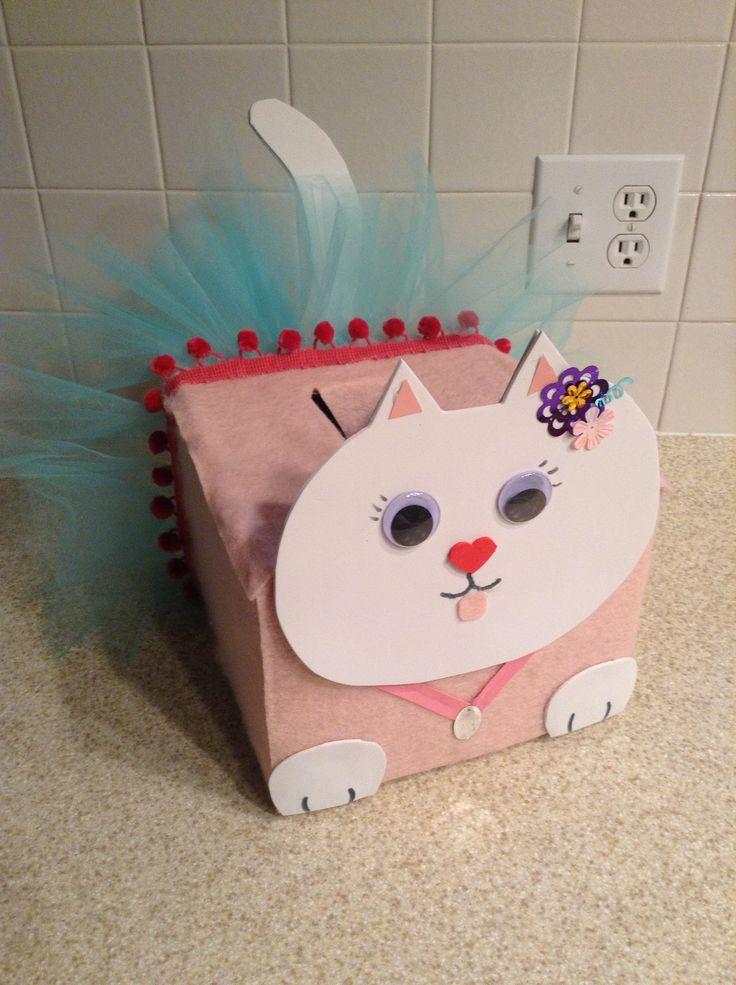 Morgan's kitty cat valentine mailbox. Felt with foam