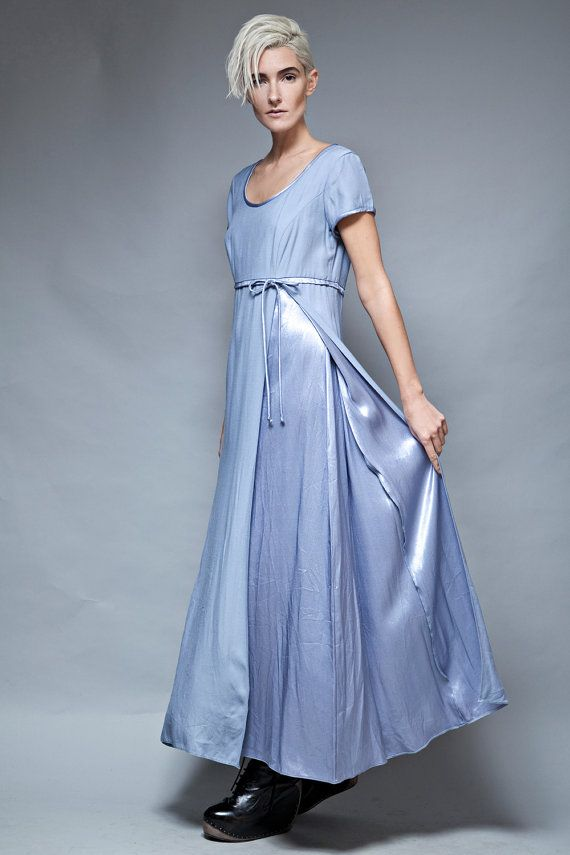 Party Dress Evening Gown Maxi Smokey Blue Shiny Empire Waist Short