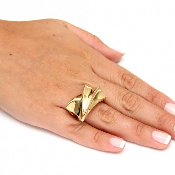 Anel, Brinco, Pulseira e Colar - Anel retangulo liso com relevo semi joia Valentina Volpe Acessórios Feminino - Semi-Jóias - Banho Ouro 18k