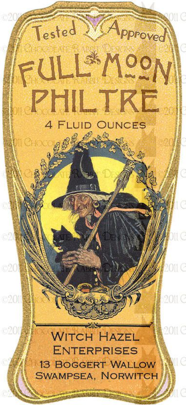 Vintage Halloween Witch Potion Bottle Label by chocolaterabbit, $2.25