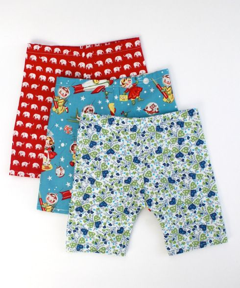 Three pairs of home sewn baby trousers; link to free pattern and tutorial