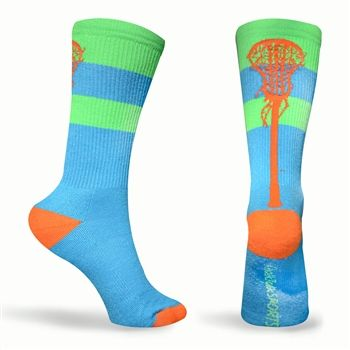 Tropic Neon Series Lacrosse Socks (Blue, Green, Orange) - Lax Girls LOVE our socks!  Super comfy and fashionable socks.  We design our socks with high tech function, comfort and style.