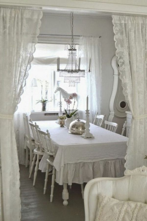 35 beautiful shabby chic dining room decoration ideas. Black Bedroom Furniture Sets. Home Design Ideas