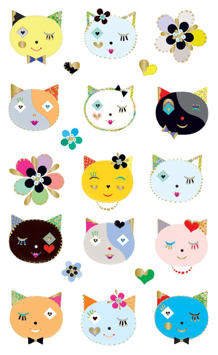 Cats Frilly Faces Sticker • Mrs. Grossman's Stickers