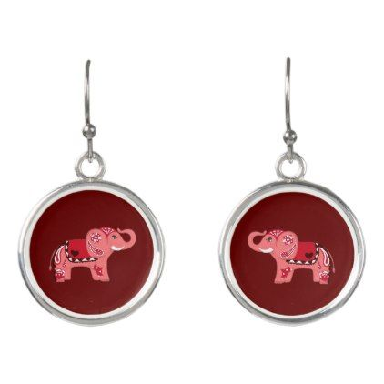 Henna Elephant (Red/Pink) Earrings - jewelry jewellery unique special diy gift present