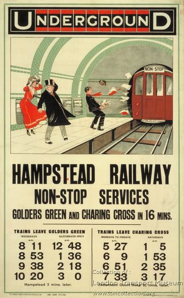 Hampstead Railway Non-Stop Services, by unknown artist, 1910 - Published by Underground Electric Railway Company Ltd.