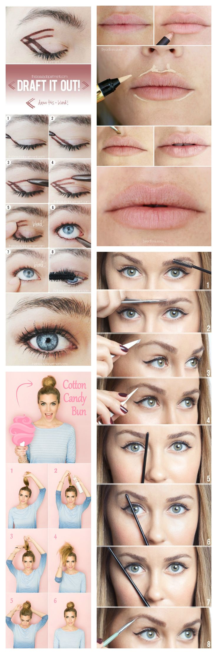 beauty, pictorial, pinterest, the beauty department, make your lipstick last, make lipstick last, eyebrow tutorial, eyebrow routine, cotton candy bun, smokey eye tutorial, easy eyeshadow tutorial, perfect ponytail, ponytail tutorial, hair tutorial, beauty tutorial, make-up tutorial, braid tutorial<br />