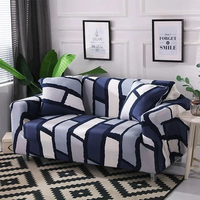 Bold Blue Blocks Sofa Cover In 2020 Slip Covers Couch Furniture Slipcovers Sofa Covers