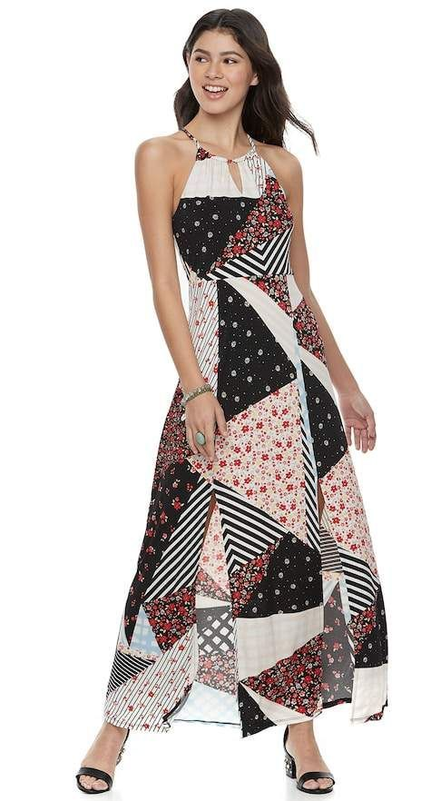 Candie s Juniors  Candie s® Print Halter Maxi Dress  19590c0b4