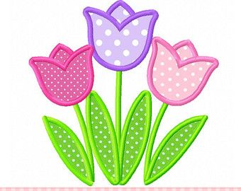 Tulips Applique 4x4 5x7 6x10-Machine by CherryStitchDesign on Etsy